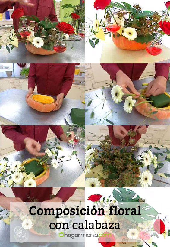 Composición floral con calabaza - Pasos