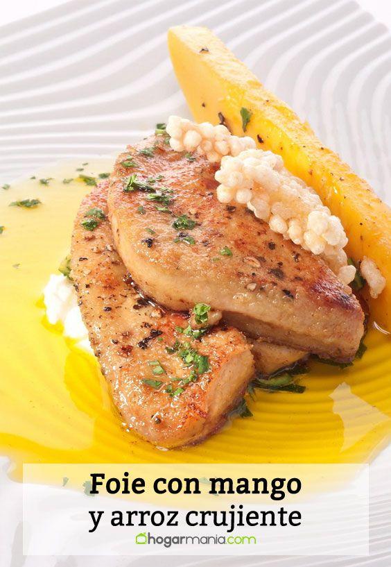 Receta de Foie con mango y arroz crujiente