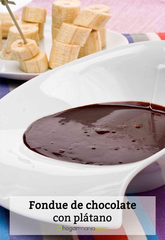 Receta de Fondue de chocolate con plátano