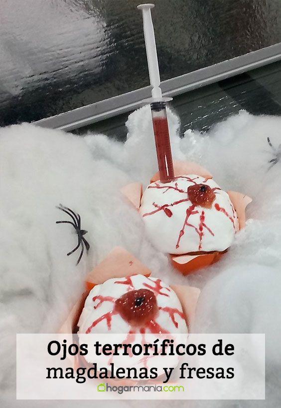 Receta de Ojos terroríficos de magdalenas y fresas para Halloween