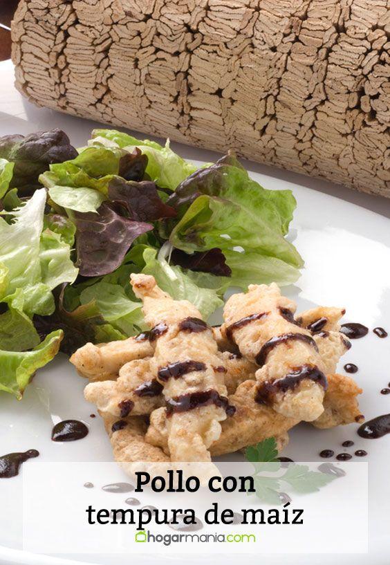 Receta de pollo con tempura de maíz