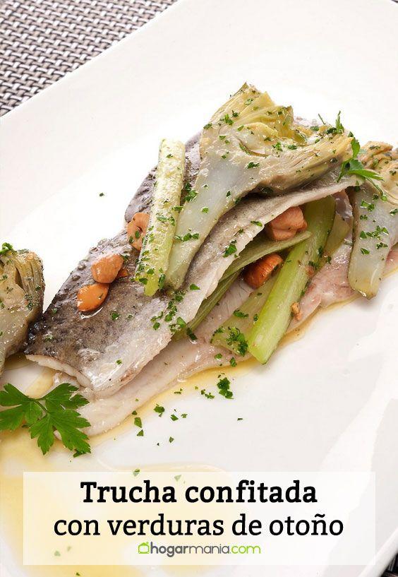 Receta de Trucha confitada con verduras de otoño