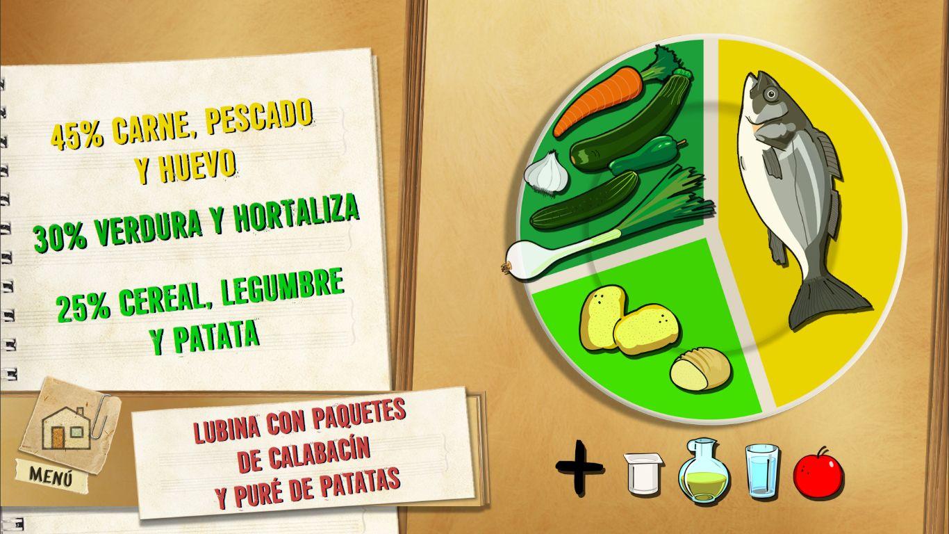 Lubina con paquetes de calabacín y patatas panadera
