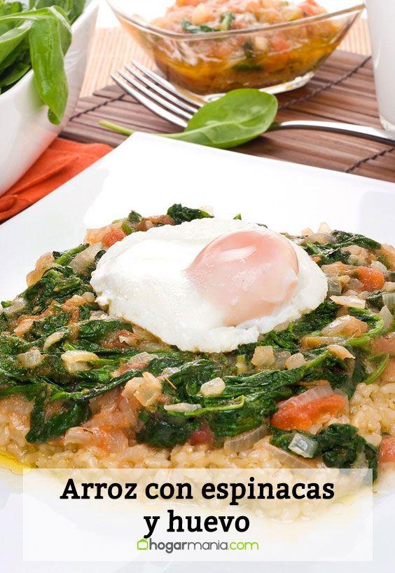 Receta de Arroz con espinacas y huevo