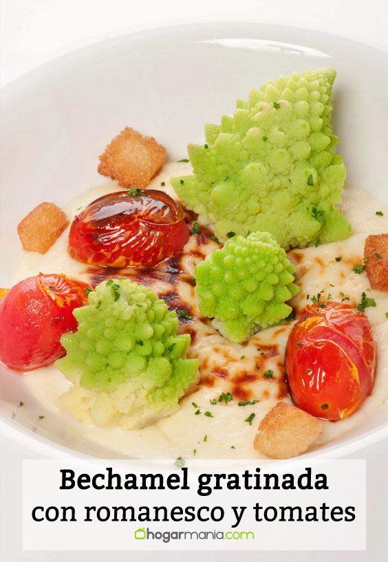 Receta de Bechamel gratinada con romanesco y tomates