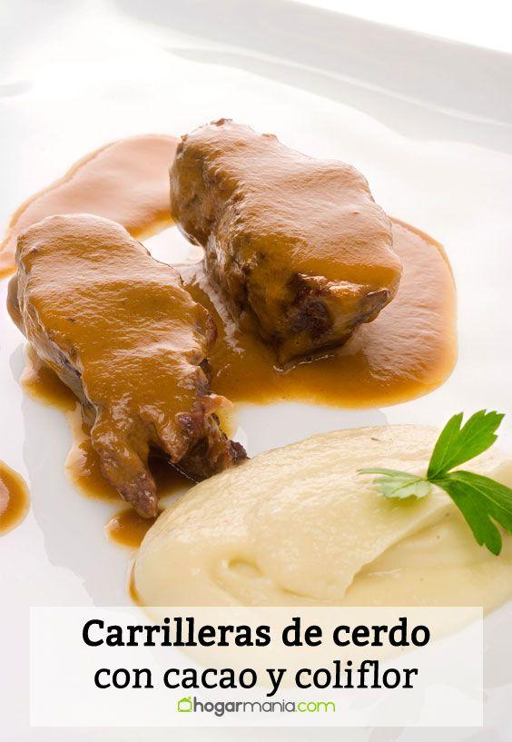 Receta de Carrilleras de cerdo con cacao y coliflor