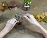 Cómo decorar tarros de cristal con hojas secas