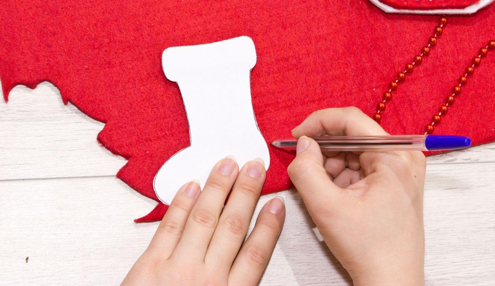 Adorno navideño con forma de calcetín