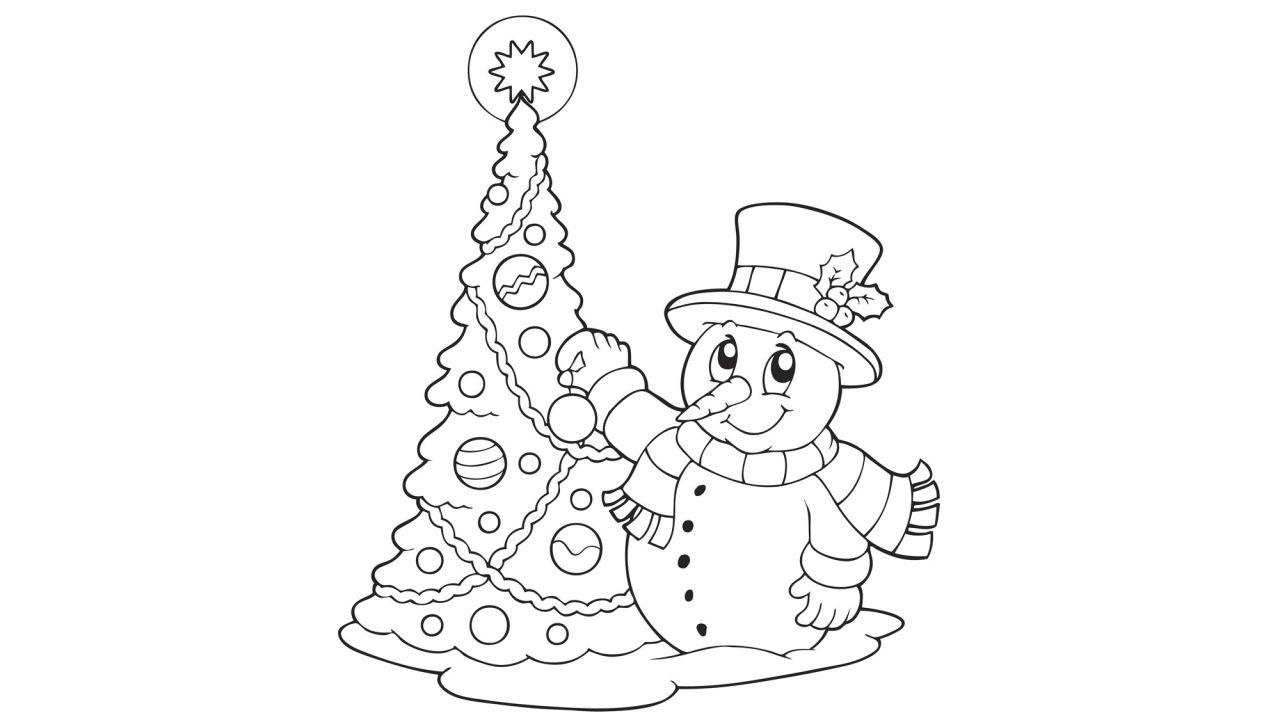 Muñeco De Nieve Dibujo: Dibujos Navideños Para Pintar O Colorear