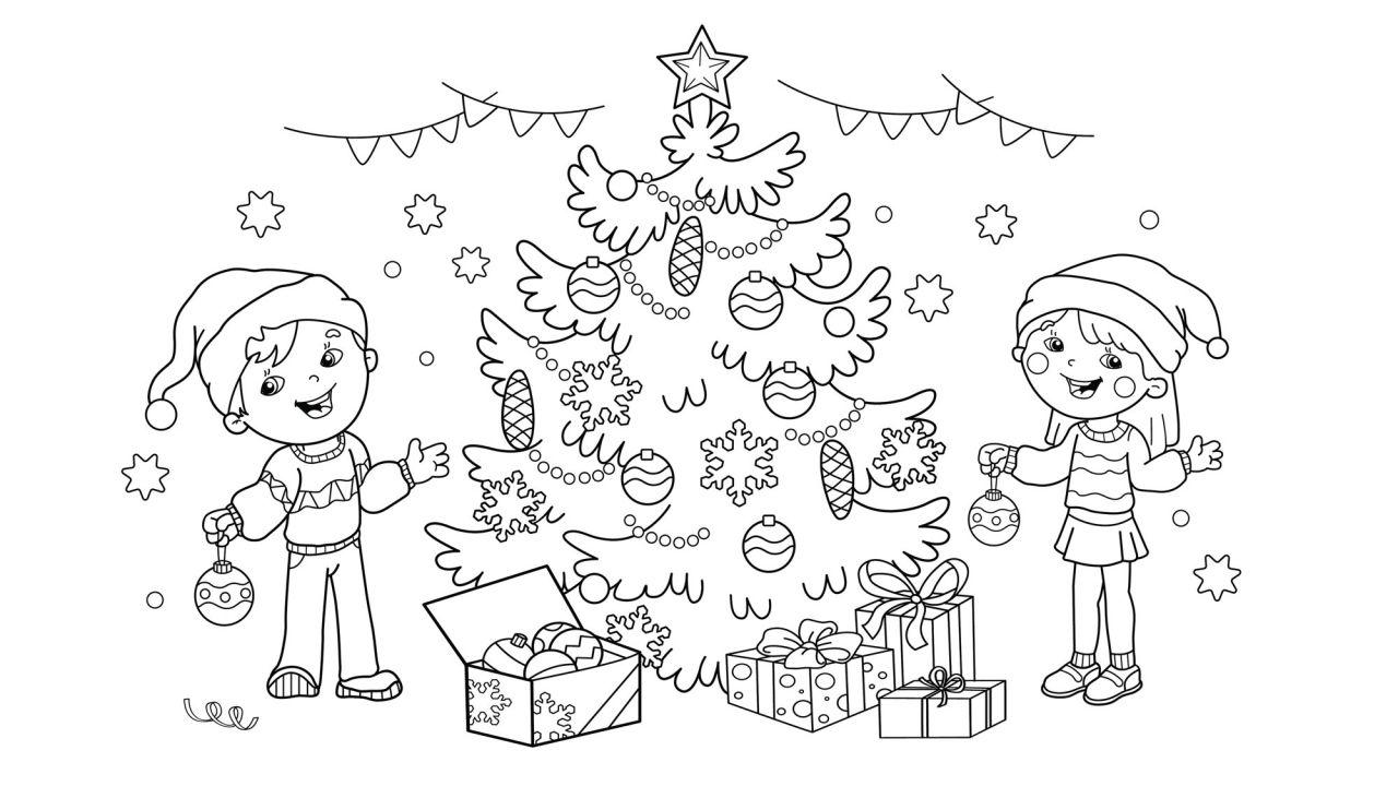 Dibujos Navideños Para Pintar O Colorear Niños Decorando El árbol