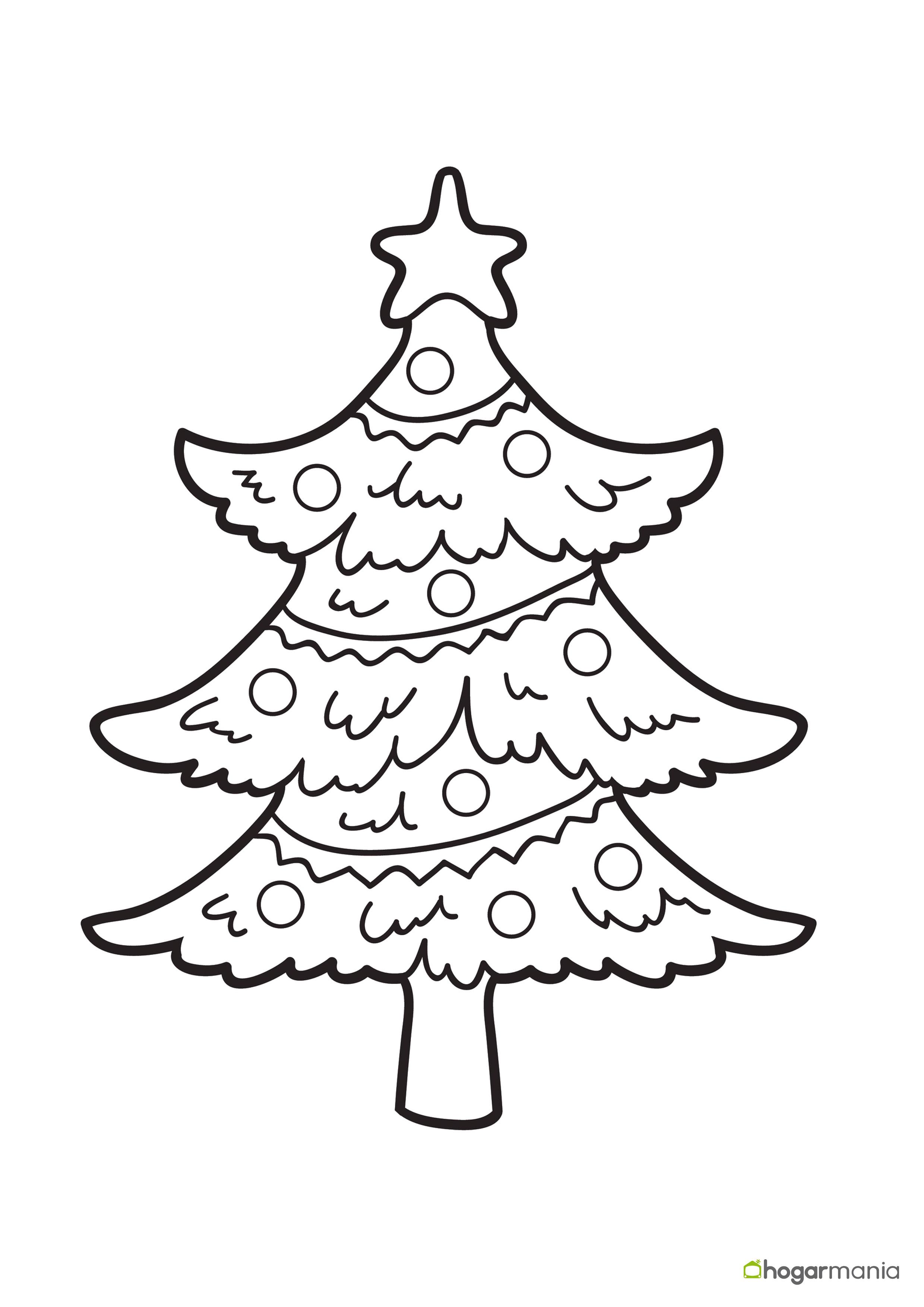 Dibujos navideños para pintar o colorear - Niños decorando el árbol
