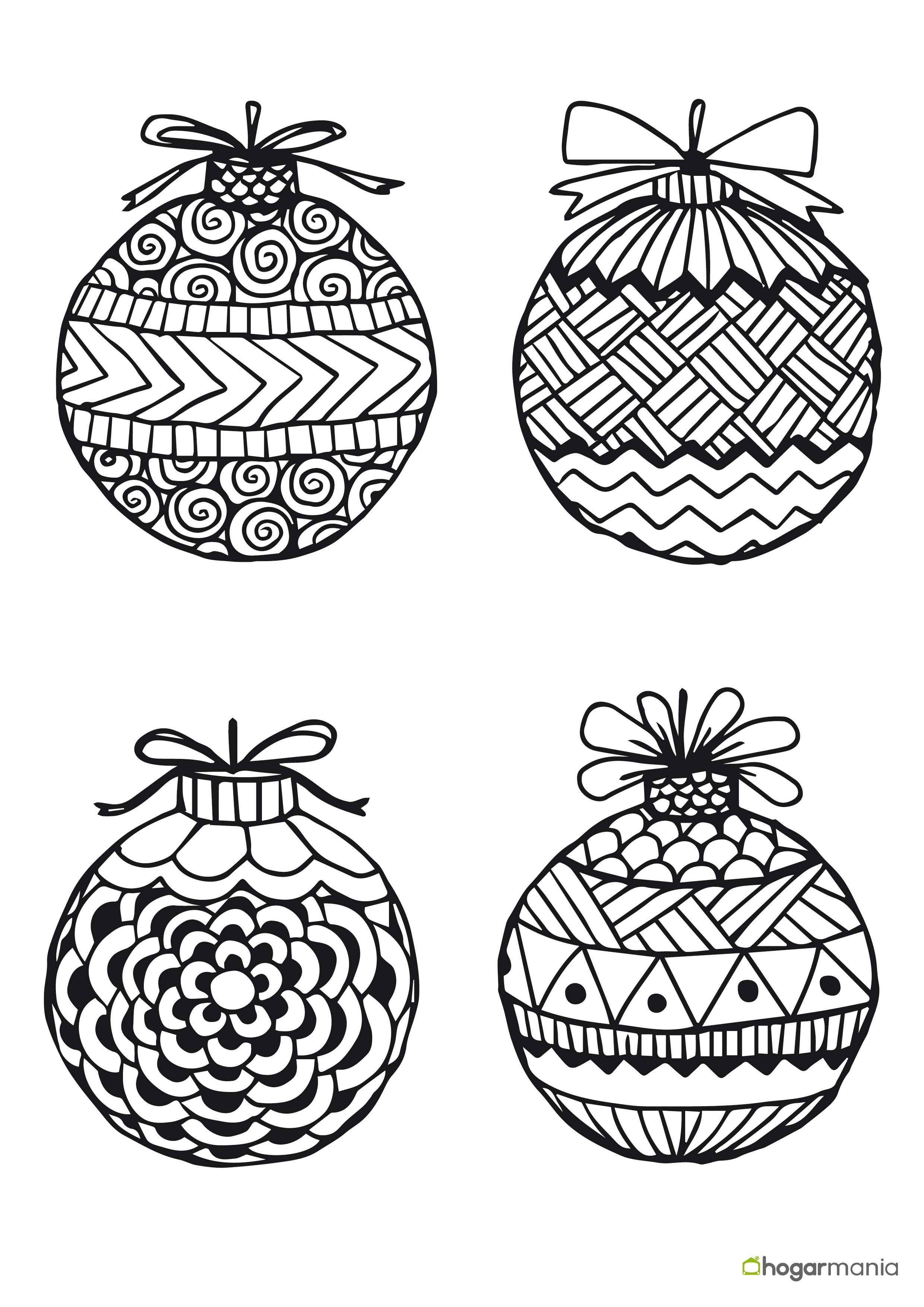 Bolas De Navidad Dibujos Para Colorear.Dibujos De Bolas De Navidad Para Imprimir Y Colorear 1