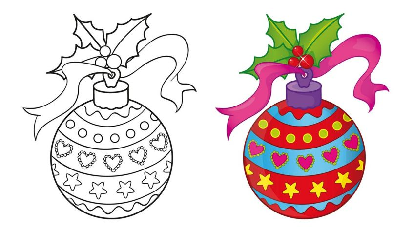 Dibujos de bolas de Navidad para imprimir y colorear Hogarmania
