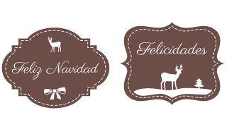 Etiqueta navideña con dibujo de reno