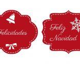 Etiquetas navideñas en rojo y blanco