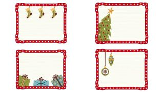 Etiquetas con marco navideño