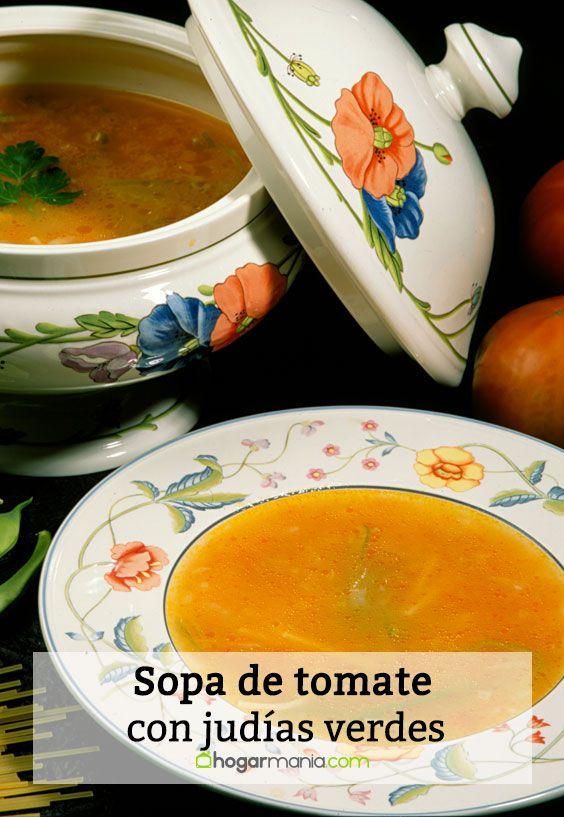 Sopa de tomate con judías verdes