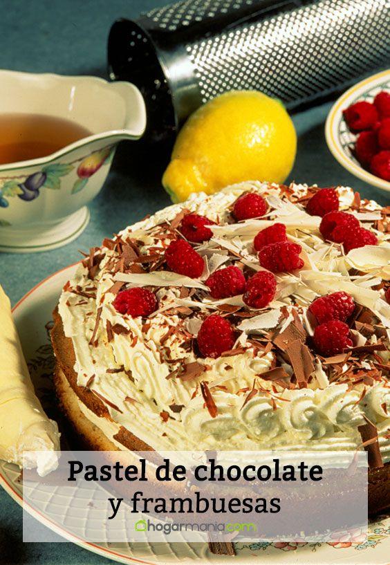 Pastel de chocolate y frambuesas