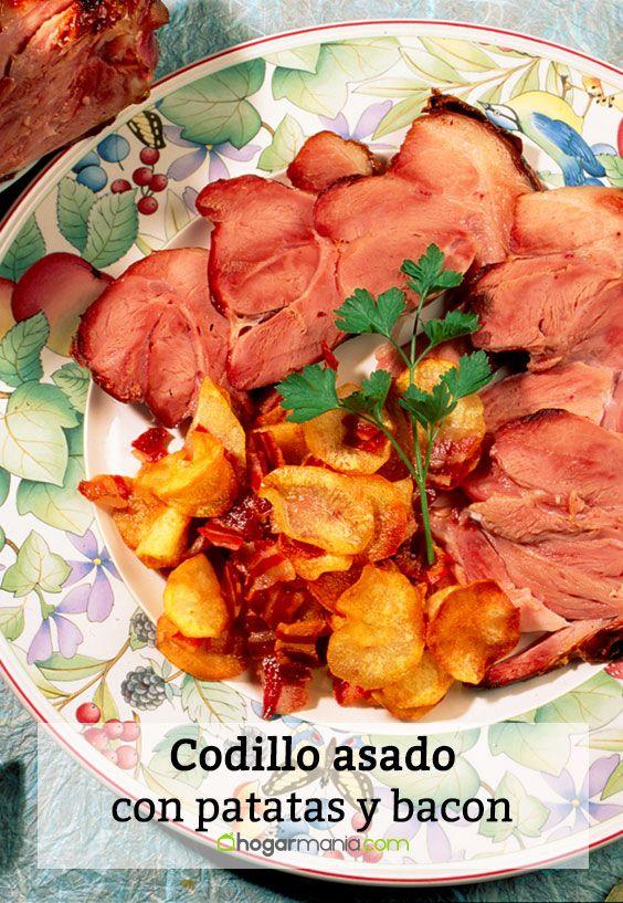 Codillo asado con patatas y bacon