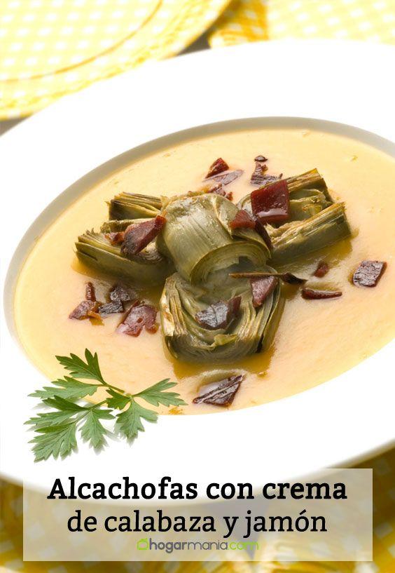 Receta de Alcachofas con crema de calabaza y jamón