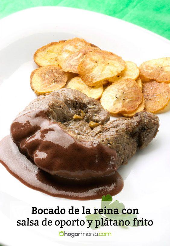 Receta de Bocado de la reina con salsa de oporto y plátano frito