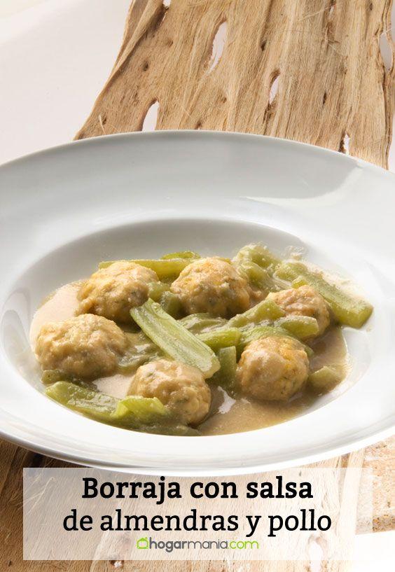 Receta de Borraja con salsa de almendras y pollo