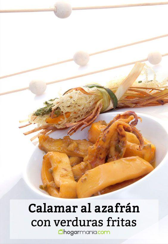 Receta de Calamar al azafrán con verduras fritas