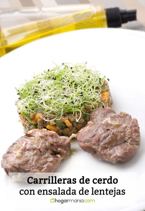 Receta de Carrilleras de cerdo con ensalada de lentejas