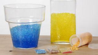 Composición floral con bromelia en recipiente con geles de colores - Paso 1