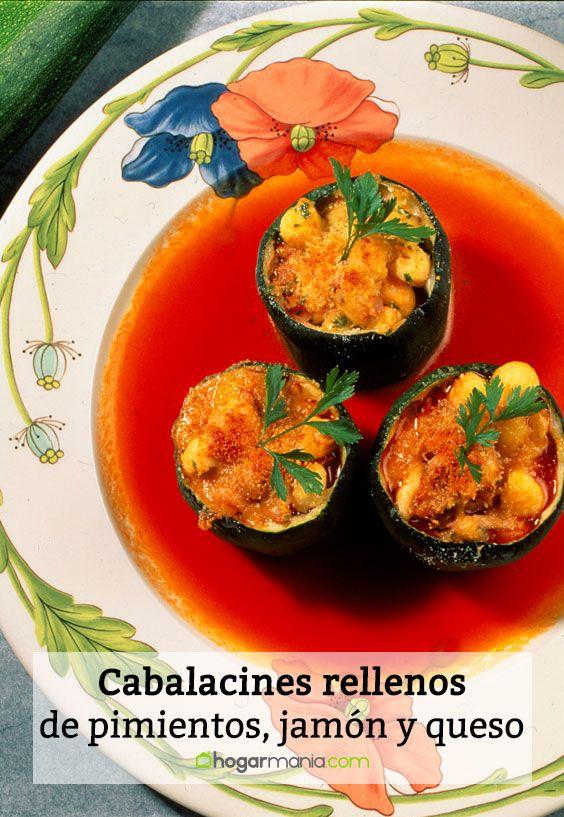 Calabacines rellenos de pimientos, jamón y queso