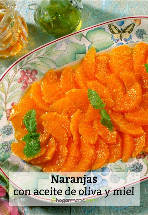 Naranjas con aceite de oliva y miel