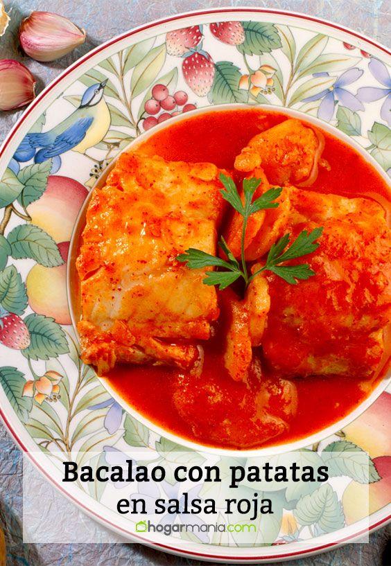 Bacalao con patatas en salsa roja