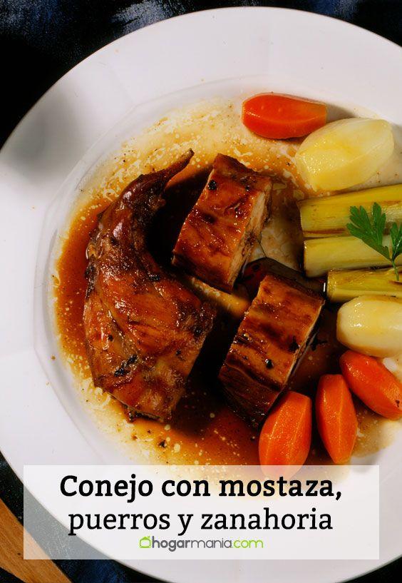 conejo con mostaza, puerros y zanahoria