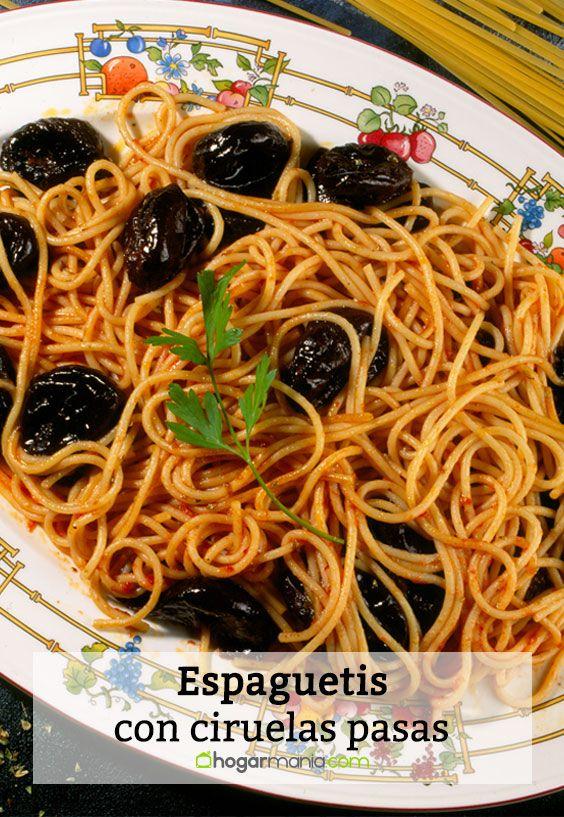 Espaguetis con ciruelas pasas