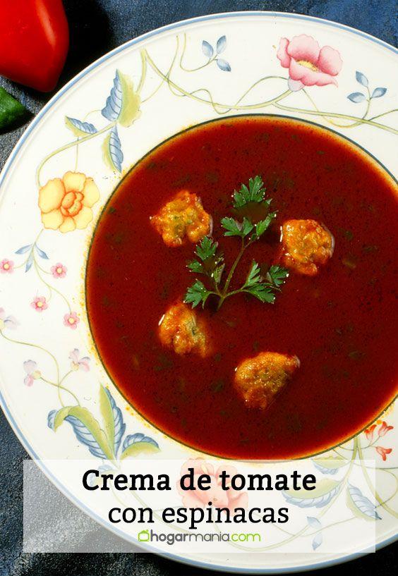 crema de tomate con espinacas