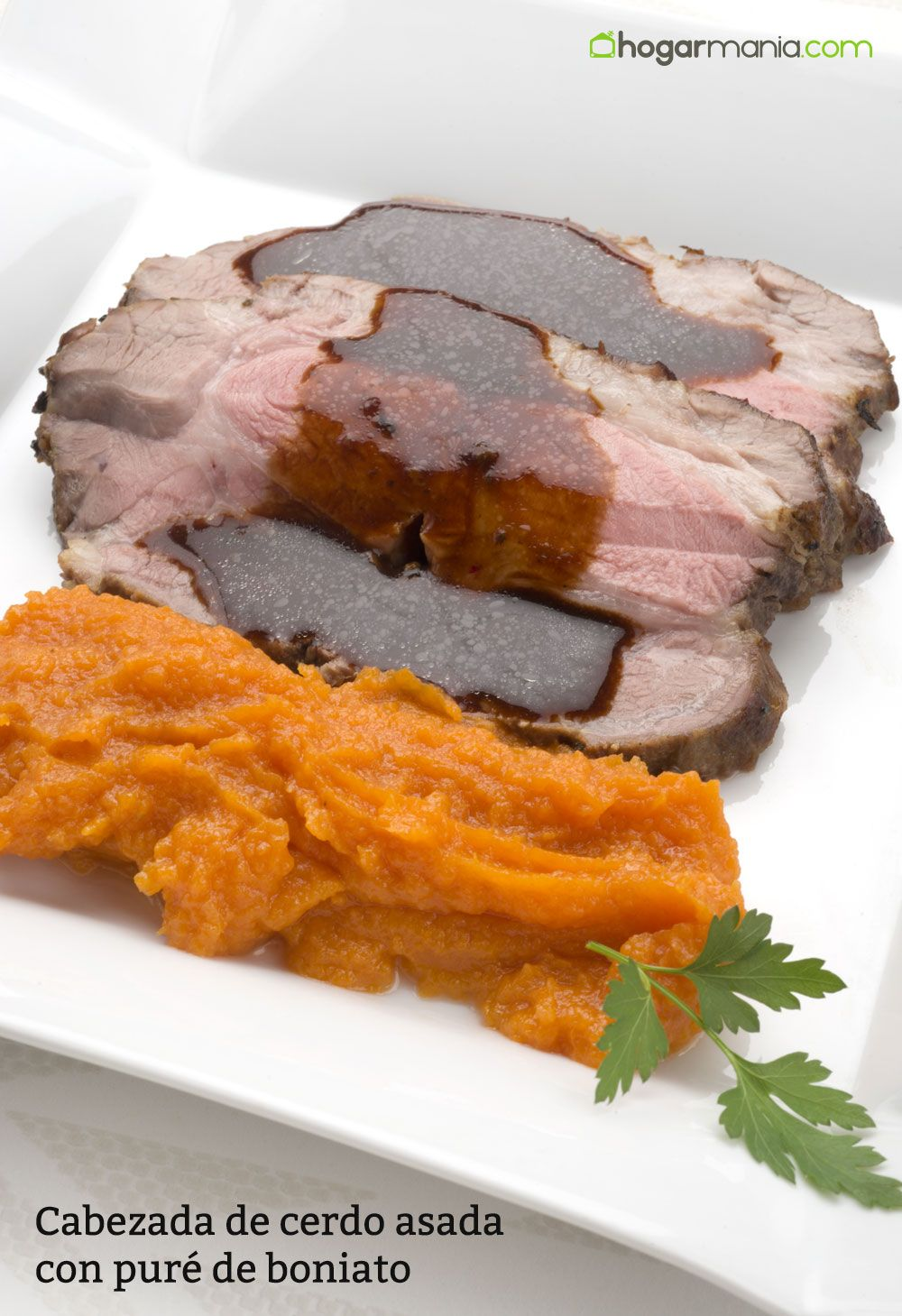 Cabezada de cerdo asado con puré de boniato