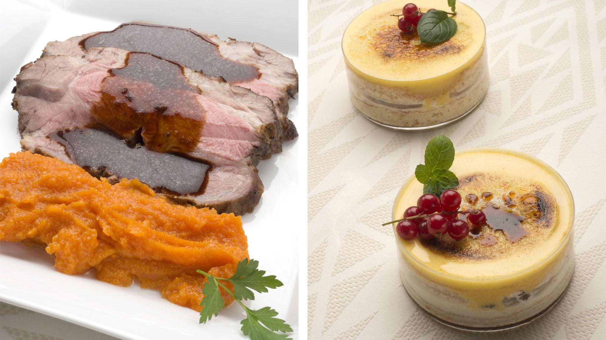 Cabezada de cerdo asada con puré de boniato y Copas de bizcocho y helado