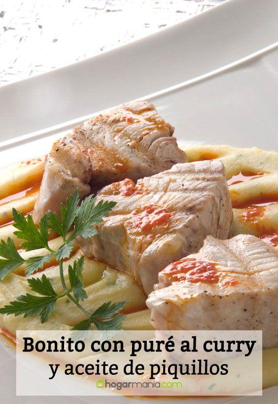Receta de Bonito con puré al curry y aceite de piquillos