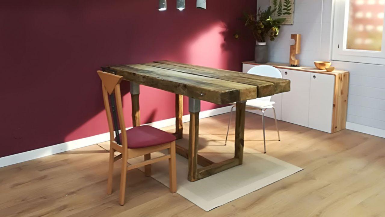 Cómo hacer una mesa de comedor con traviesas de madera - Paso 1