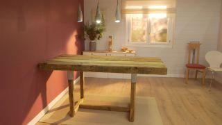 cómo hacer una mesa de madera con traviesas