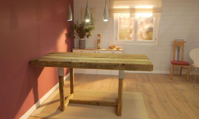 C mo hacer una mesa de comedor con traviesas de madera for Como hacer una mesa de comedor