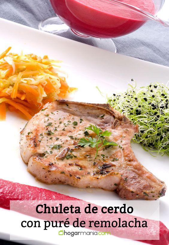 Receta de Chuleta de cerdo con puré de remolacha