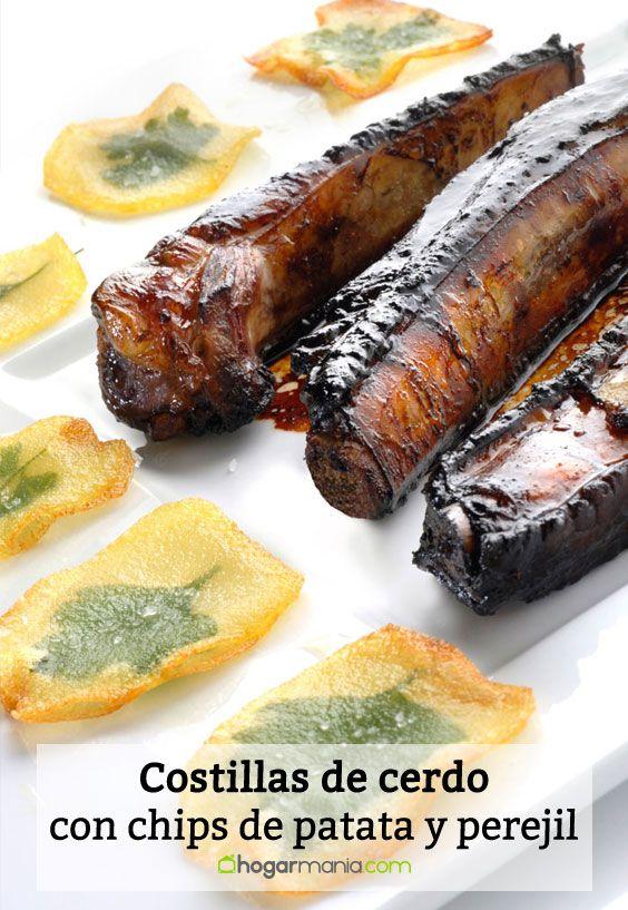 Receta de Costillas de cerdo con chips de patata y perejil