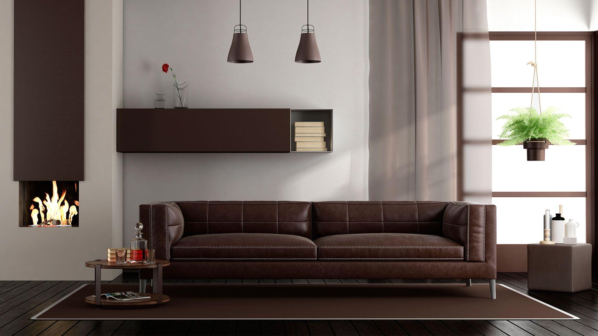 C mo combinar un sof marr n hogarmania for Combinar colores decoracion salon