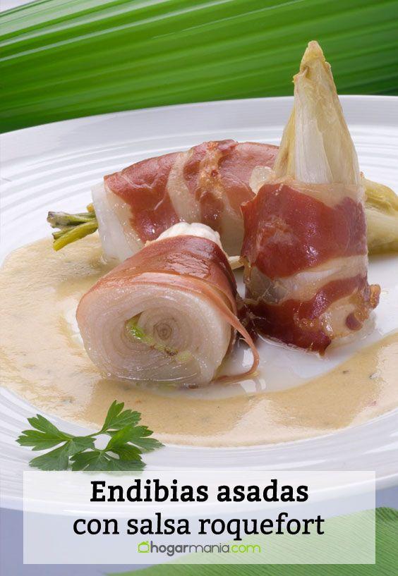 Receta de Endibias asadas con salsa roquefort