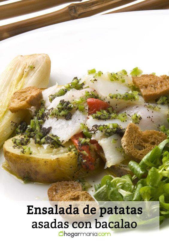Receta de Ensalada de patatas asadas con bacalao