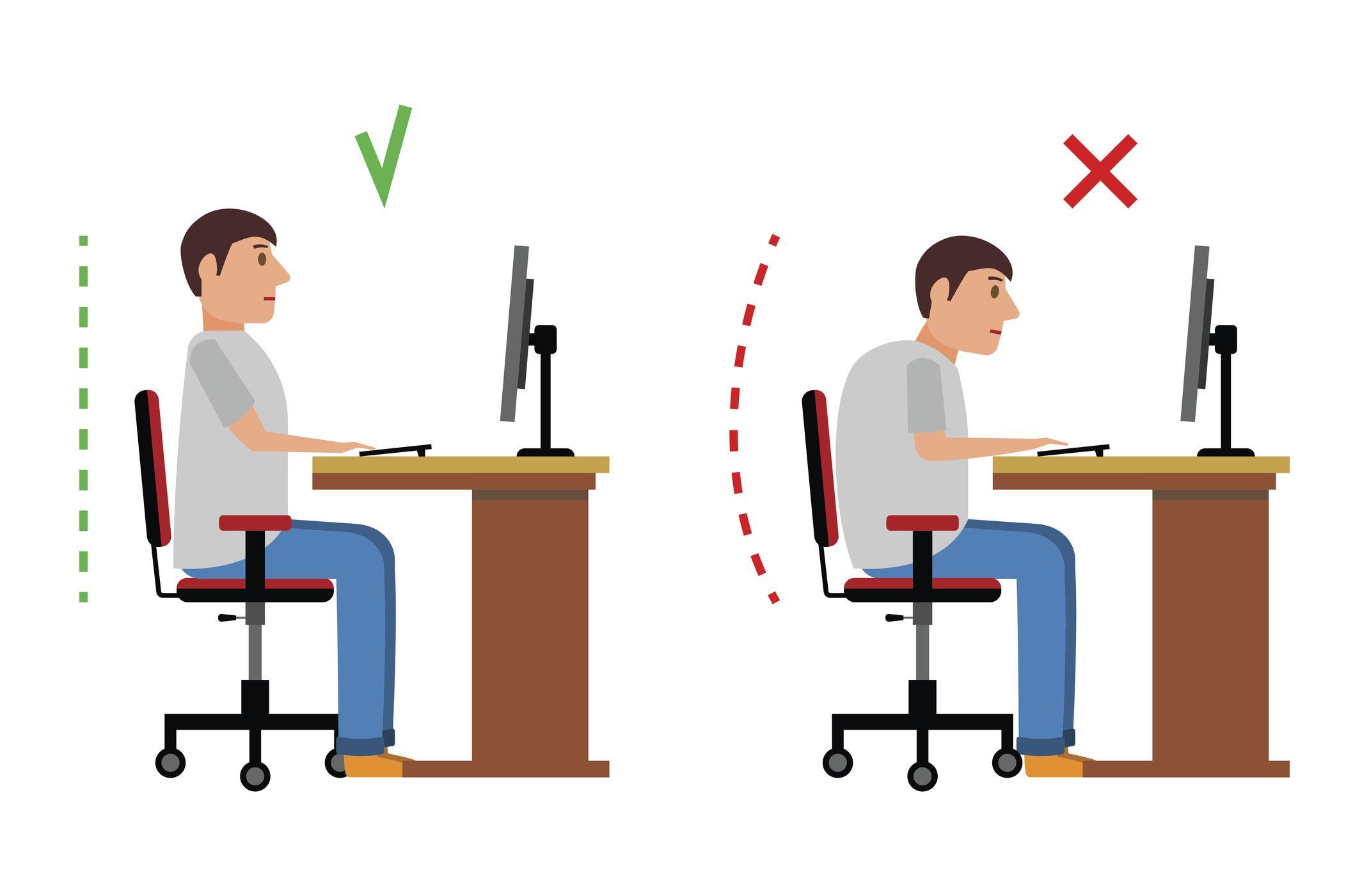 espalda recta delante del ordenador