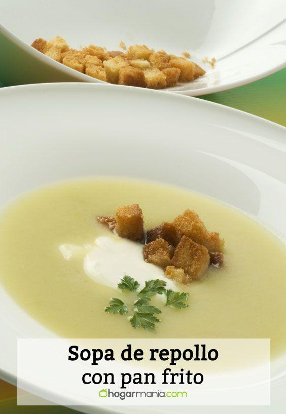 Receta de Sopa de repollo con pan frito