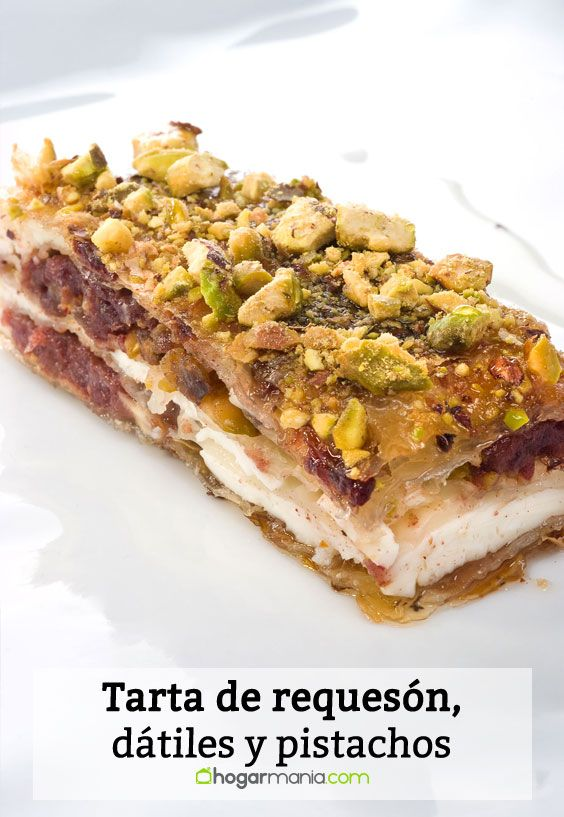Receta de Tarta de requesón, dátiles y pistachos