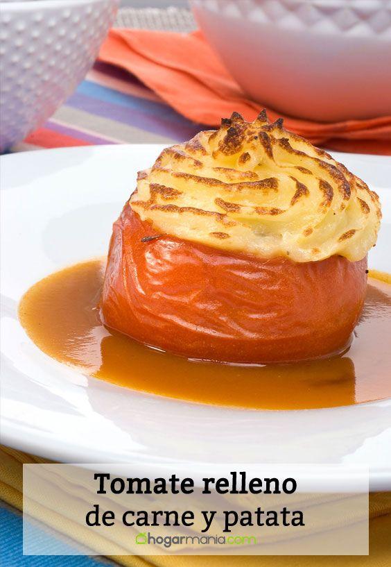 Receta de Tomate relleno de carne y patata